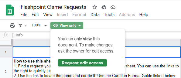 How to request access to the Game Requests sheet