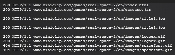 "Some of the files requested by ""Realspace 2 - Emperor's Revenge"" in the Logs tab of the Flashpoint launcher."