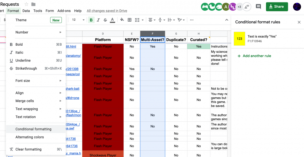How to access the Conditional Formatting options on the Requests Sheet