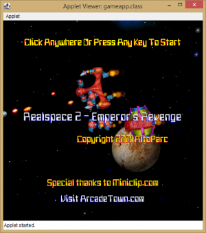 """Realspace 2 - Emperor's Revenge"" running in the AppletViewer."